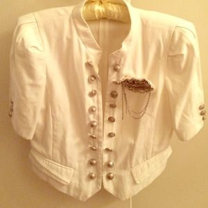 Military Style White Crop Coat