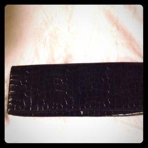 Black faux alligator skin black long sleek clutch