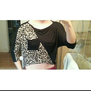 Half black half cheetah print top