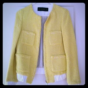 Zara yellow tweed jacket