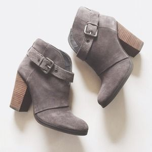 JustFab Palmer Bootie in Grey Suede