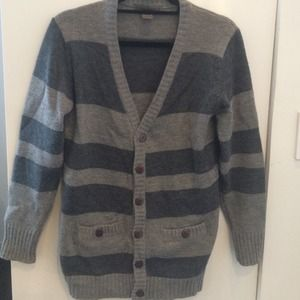 Urban Outfitters Gray Striped Long Cardigan