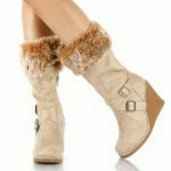 67 soda boots soda mid size wedge boots with fur