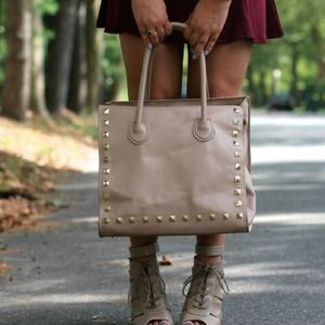 Nude Pebbled Leather Studded Bag!