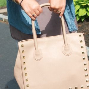 Bags - Nude Pebbled Leather Studded Bag!