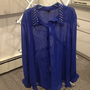Mossimo Supply Co. Tops - Cobalt Blue Chiffon Blouse w/ Studded Collar!