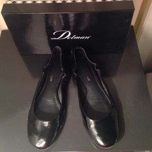 Delman black patent leather flats, size 6