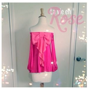 Tops - Pink Jersey Top + Peach Bow Back