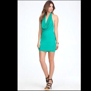 Green Cinched Front Halter Dress