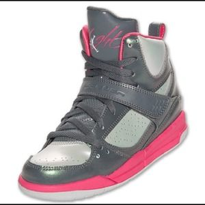 official photos 74e79 14586 Jordan Shoes - preschool Jordan high top flights, pink   grey.