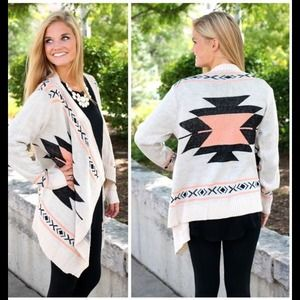 ❤️SALE❤️Coral Aztec Tribal Draped Cardigan💋