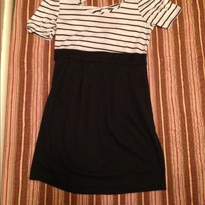 Black & white striped dress