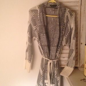 BCBGMAXAZRIA black and white asymmetrical cardigan