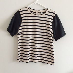 JCREW leather sleeve strip top size M