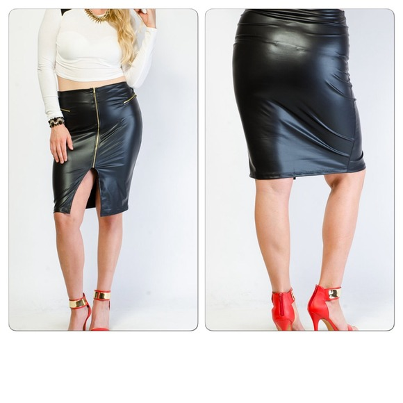 34% off Dresses & Skirts - Leather zip up skirt NWOT from Allyn's ...
