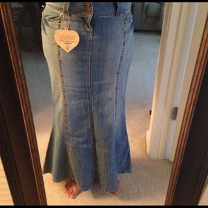 Denim - Mermaid style long denim skirt