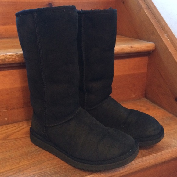 UGG CLASSIC TALL Black Fleece Suede BOOTS