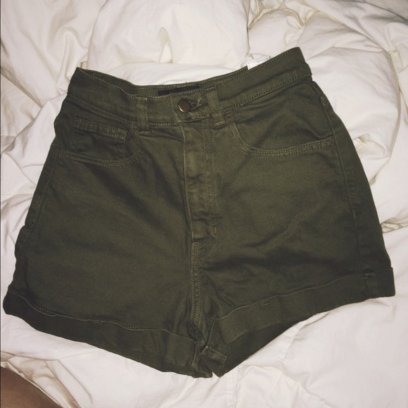Olive Green High Waisted Shorts - The Else