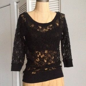 NWT Express sheer black lace loose fit top XS