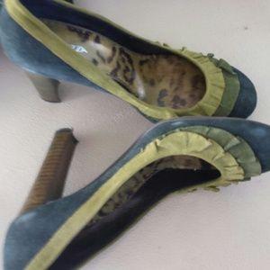 Suede Green Ruffled Trim Heels