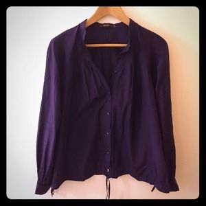 Reiss Tops - REISS purple collarless button down with ties