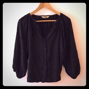 Tucker Tops - Black pebbled print Tucker silk blouse
