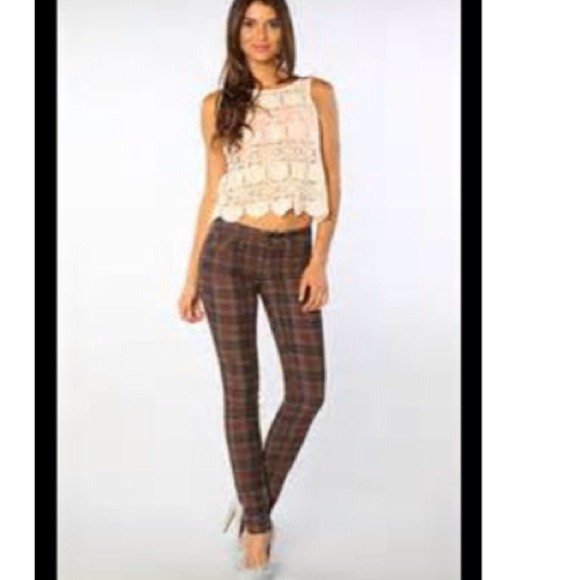 74% off Free People Pants - Free People Brown The Printed Plaid ...