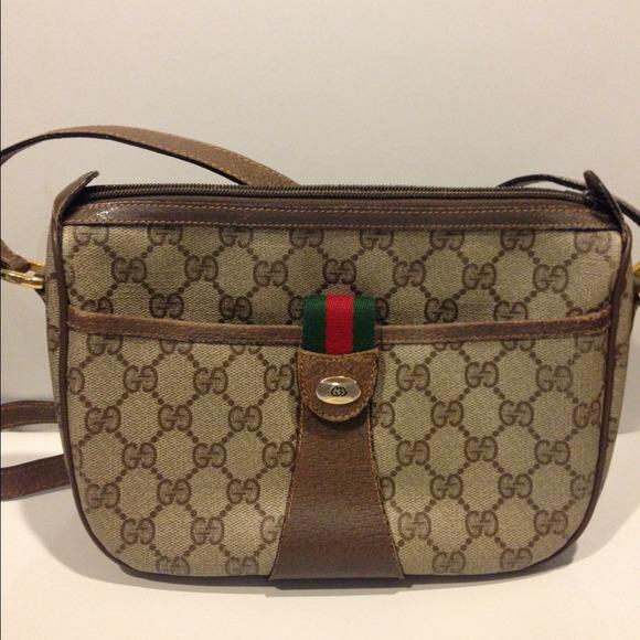 49c6bc313682 Gucci Bags | Vintage Vinyl Monogram Shoulder Bag | Poshmark