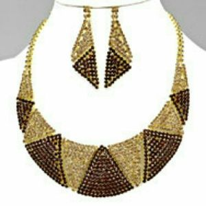 Crystal bib rhinestone statement necklaces set