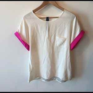 Kimberly Taylor Tops - White silk shirt sleeve blouse with neon pink