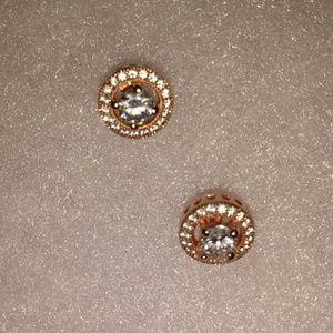 Rose Gold halo 1/4 carat center stone earrings