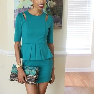 Dresses & Skirts - Teal Peplum Cutout Dress