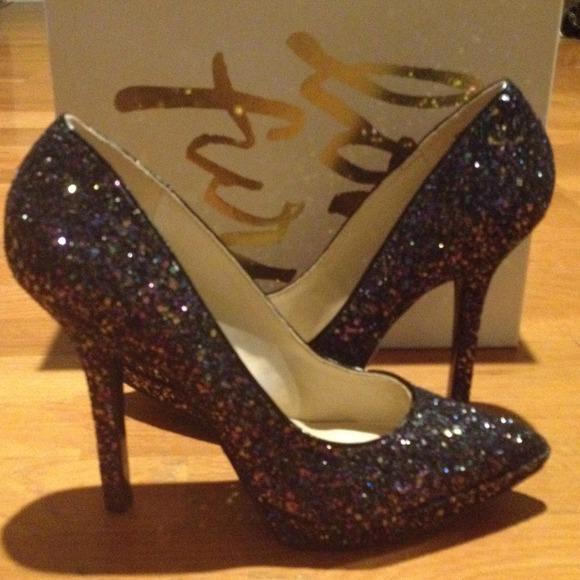 Nine West Shoes   Love Fury Glitter Heels Reduced   Poshmark 2d88b63a51