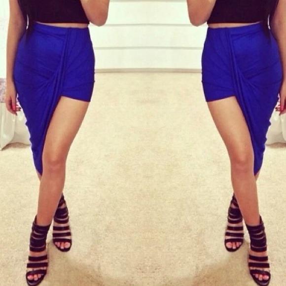69 dresses skirts hp royal blue asymmetrical