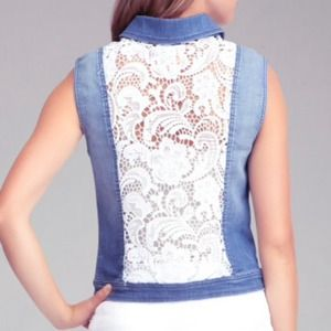 Bebe Blue Lace Back Denim Vest