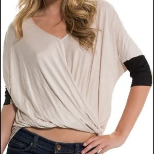 Cloud 9 Tops - 🍁Glam girl ~ Sand Draped Blouse NWT