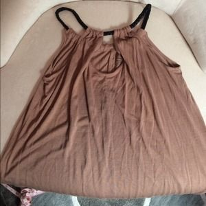 Tops - Brown tank with black rope straps. Size medium.