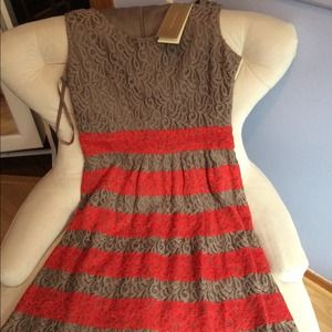 Francesca's taupe and red stripe lace dress
