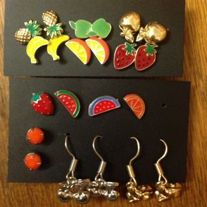 Fruit Earrings - 11 Pairs