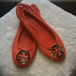 Coral leather Tory Burch Reva flats