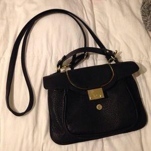 Olivia + joy black and gold leather satchel