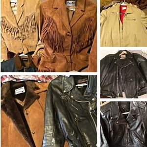 True vintage leather suede motorcycle jackets