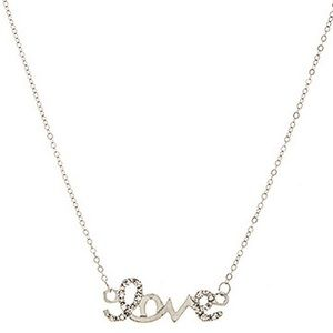 "NEW ""Love"" Necklace (Silver Tone)"