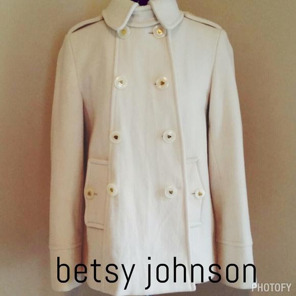 72% off Betsey Johnson Jackets & Blazers - Betsy Johnson cream pea ...