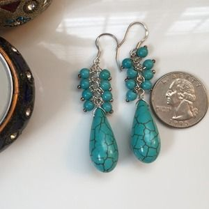 Jewelry - 🎉HP🎉NWOT Turquoise Earrings 925 Silver Hook