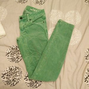 Gap green corduroy skinnies