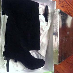 Kelsi Dagger Over the Knee Black Suede Boot - NEW