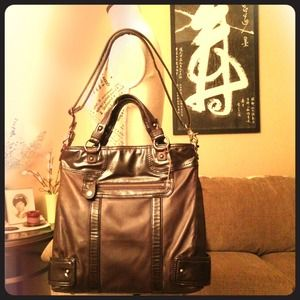 Silky Leather Chocolate Brown Tote by Perlina
