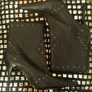 Nine West Studded Black Leather Boots
