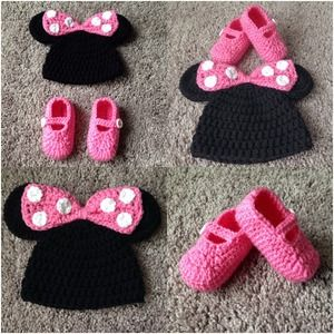 Free Crochet Pattern For Mickey Mouse Shoes : handmade minnie mouse crochet hat (on hand) 3-12 mos & 1-3 ...